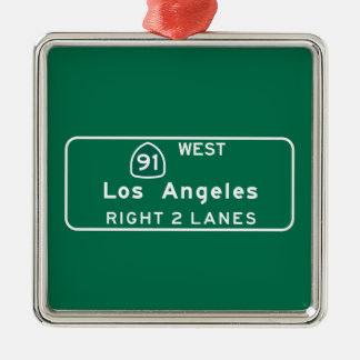 Los Angeles, CA Road Sign Christmas Ornament