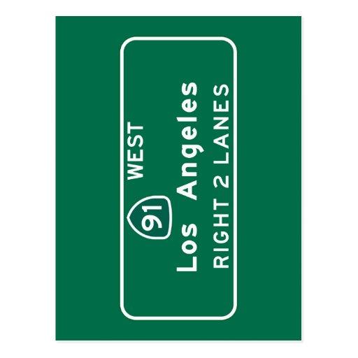 Los Angeles, CA Road Sign Post Card