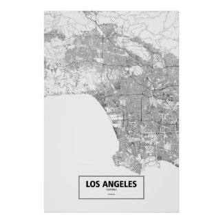 Los Angeles, California (black on white) Poster