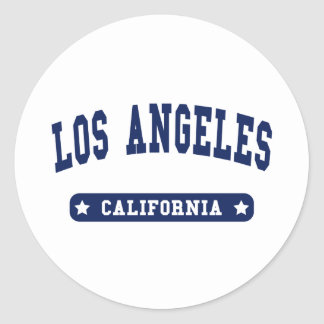 Los Angeles California College Style tee shirts Round Stickers