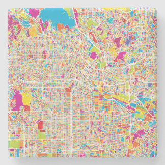 Los Angeles, California | Colorful Map Stone Beverage Coaster