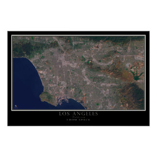 Los Angeles California From Space Satellite Map Poster