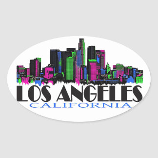 Los Angeles California neon skyline Oval Sticker