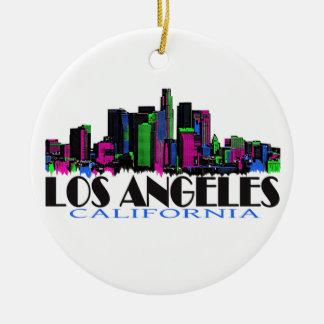 Los Angeles California neon skyline Round Ceramic Decoration