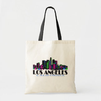 Los Angeles California neon skyline Tote Bag