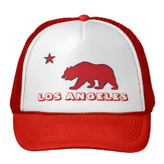 Los Angeles California red theme flag hat