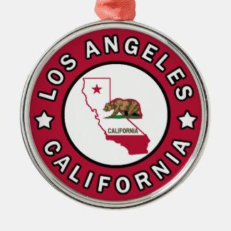 Los Angeles California Silver-Colored Round Decoration
