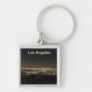 Los Angeles California Silver-Colored Square Key Ring