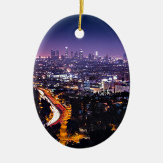 Los Angeles, California Skyline at night Ceramic Oval Decoration