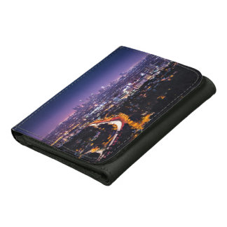Los Angeles, California Skyline at night Leather Tri-fold Wallet
