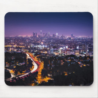 Los Angeles California Skyline at night Mousepads