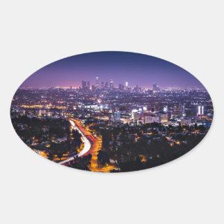 Los Angeles, California Skyline at night Oval Sticker