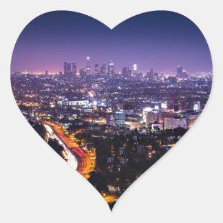 Los Angeles, California Skyline at night Heart Stickers
