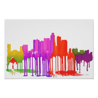 LOS ANGELES, CALIFORNIA SKYLINE PUDDLES - POSTER