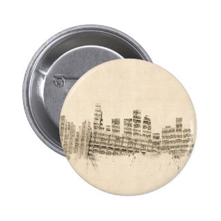 Los Angeles California Skyline Sheet Music Citysca 6 Cm Round Badge
