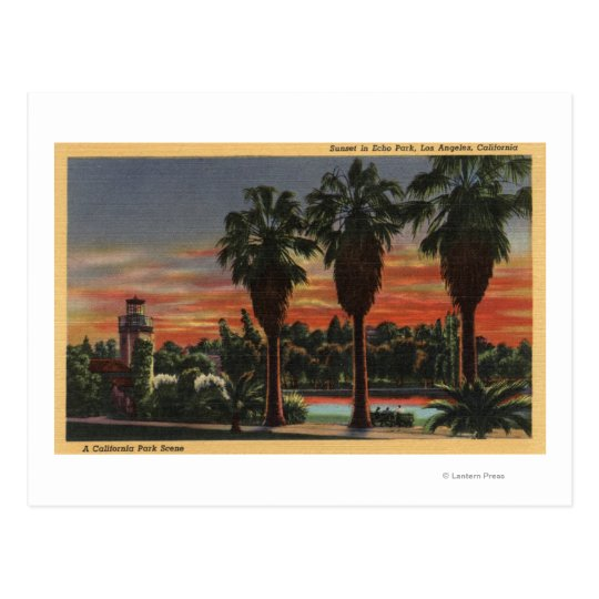 Los Angeles, CaliforniaSunset in Echo Park Postcard