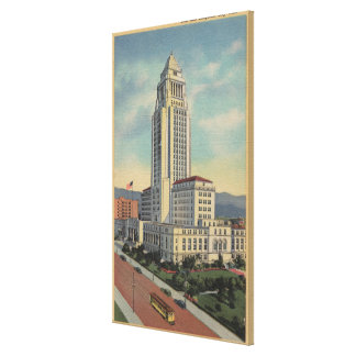 Los Angeles, CAView of City Hall and Cable Car Canvas Print