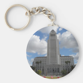 Los Angeles City Hall Basic Round Button Key Ring