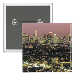 Los Angeles Cityscape at Night 15 Cm Square Badge