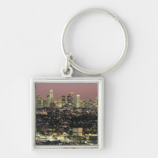 Los Angeles Cityscape at Night Silver-Colored Square Key Ring