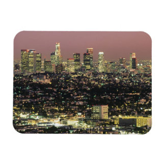 Los Angeles Cityscape at Night Rectangular Photo Magnet