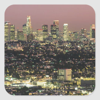 Los Angeles Cityscape at Night Square Sticker