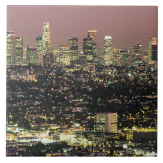 Los Angeles Cityscape at Night Tile