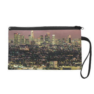 Los Angeles Cityscape at Night Wristlet Purses
