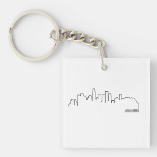 Los Angeles cityscape Double-Sided Square Acrylic Key Ring