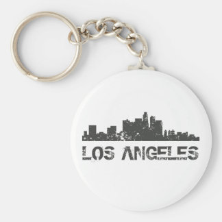 Los Angeles Cityscape Skyline Basic Round Button Key Ring