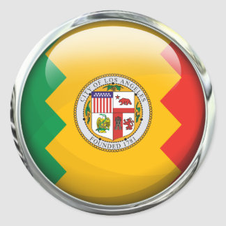 Los Angeles Flag Glass Ball Classic Round Sticker