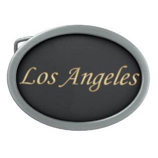 Los Angeles Gold - On Black Oval Belt Buckles