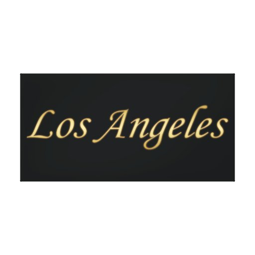 Los Angeles Gold - On Black Gallery Wrapped Canvas