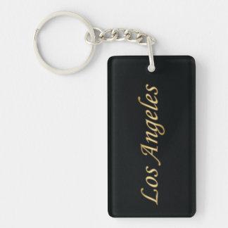 Los Angeles Gold - On Black Double-Sided Rectangular Acrylic Key Ring