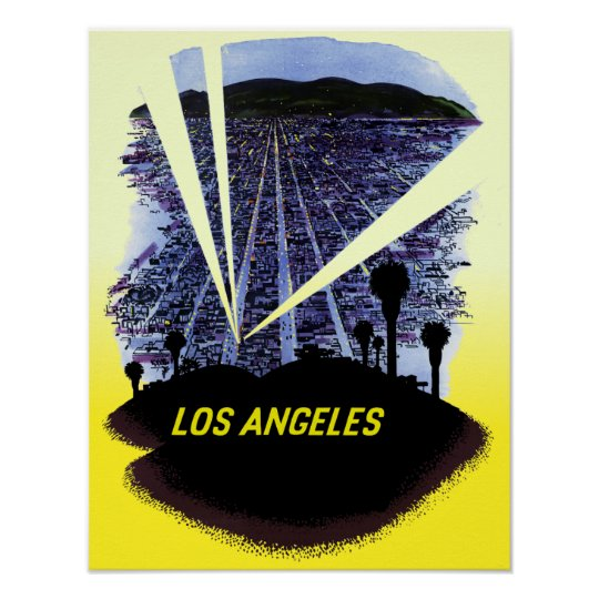 Los Angeles, Hollywood California, travel poster. Poster