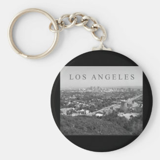 Los Angeles in Black and White Basic Round Button Key Ring