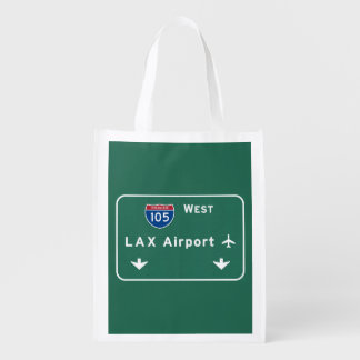 Los Angeles LAX Airport I-105 W Interstate Ca - Reusable Grocery Bag
