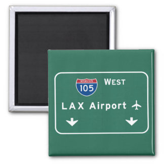Los Angeles LAX Airport I-105 W Interstate Ca - Square Magnet
