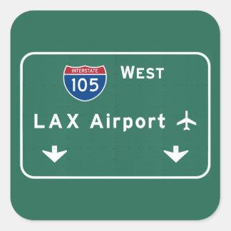 Los Angeles LAX Airport I-105 W Interstate Ca - Square Sticker