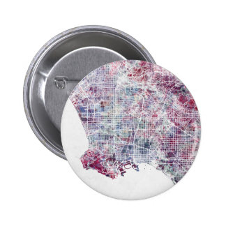 Los Angeles map California watercolor painting 6 Cm Round Badge