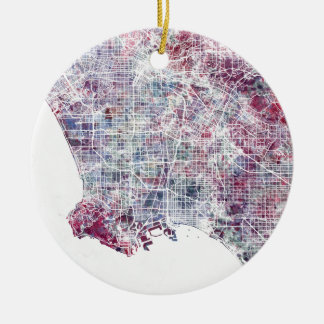 Los Angeles map California watercolor painting Christmas Ornament