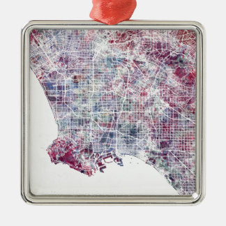 Los Angeles map California watercolor painting Silver-Colored Square Decoration