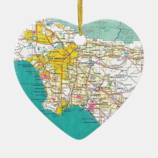 Los Angeles Map Ceramic Heart Decoration