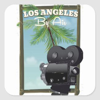 Los Angeles Movie Camera travel poster Square Sticker
