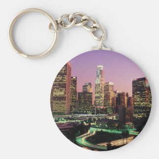 Los Angeles Night Lights Basic Round Button Key Ring