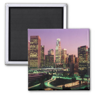 Los Angeles Night Lights Square Magnet