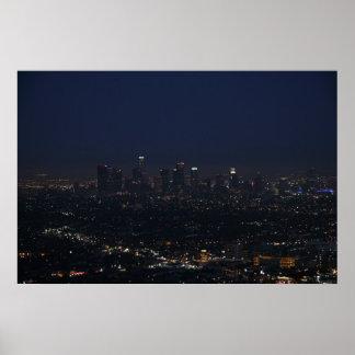 Los Angeles Night Skyline Poster