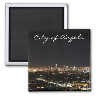 Los Angeles Night Square Magnet