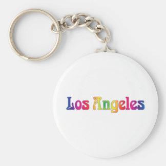 Los Angeles Retro Rainbow Logo Basic Round Button Key Ring