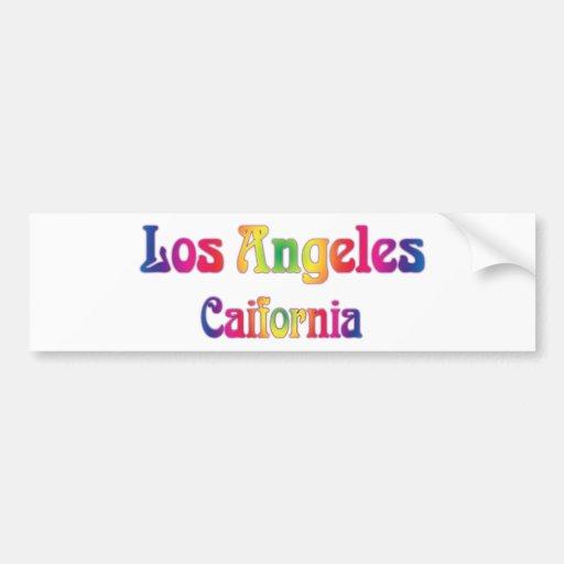 Los Angeles Retro Rainbow Logo Bumper Stickers